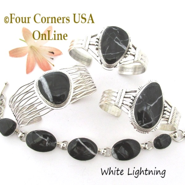 Black Onyx Jet Bracelet Collection Four Corners USA OnLine Native American Silver Jewelry